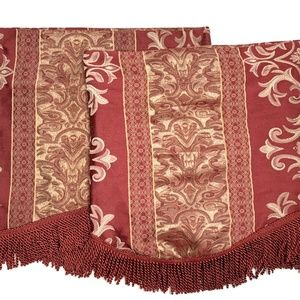 Shavel 2 Valances Window Curtains Red Gold Luxury